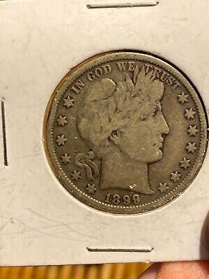 1899 Barber Half Dollar 50 cent US 90% Silver Coin. Higher Grade, Two Flat Spots