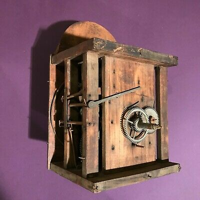 1850 Antique German Black Forest Shield Clock Wood Plate Mechanism, Bell Gong
