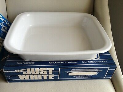Corning Ware Just White Roaster Dish With Metal Rack In Box