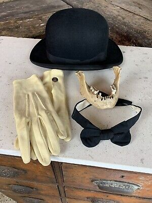 Vintage Antique Black Fur Bowler Hat And Black Bow Tie Dancy Dress Party