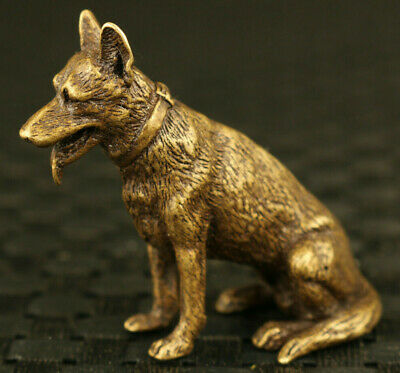 chinese old bronze hand casrved lovely dog statue figure collectable netsuke