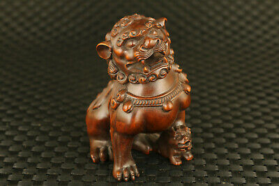 unique chinese old boxwood hand carved fengshui lion statue figure netsuke