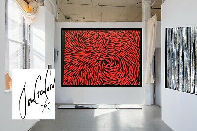 Art Original Painting artwork Oil Canvas Fish Modern red abstract Australia