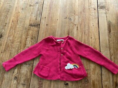 marks and spencer M&S Girls Pink Cardigan Age 4-5 Cloud & Rainbow Pocket. VGC
