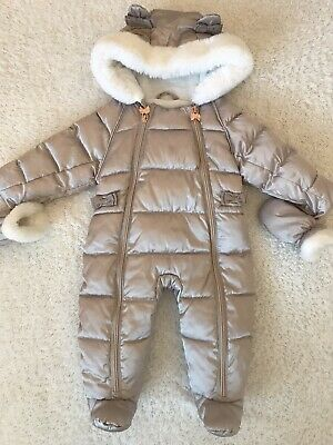 Ted Baker Baby Girls Snowsuit Age 3-6 Months Rose Gold Silver Fur Lined
