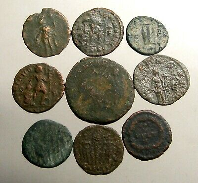 LOT OF 9 UNIDENTIFIED BRONZE COINS___Great Roman Empire____MOSTLY 4TH CENTURY AD
