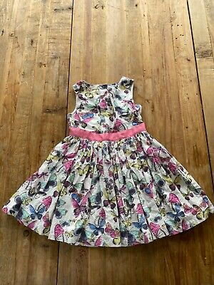 Marks and Spencer M&S Girls Party Dress with Pink Bow & Butterfly 5-6 Years. VGC
