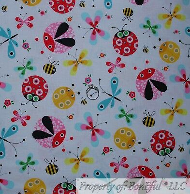 BonEful Fabric Cotton Quilt White Red Ladybug Pink Girl Bunny Butterfly US SCRAP