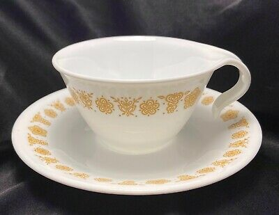 6 Corelle Gold Butterfly Hook Handled Cups And Saucers