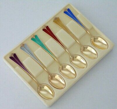 Norway / Norwegian DAVID ANDERSEN Sterling Silver boxed colorful Demitasse Set
