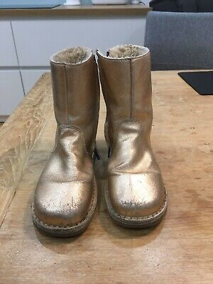 Boden Rose Gold Ankle Boots With Purple Zips And Fleece Lining EU Size 35(UK2.5)