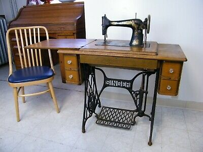 Antique 1910 Singer Treadle Sewing Machine 5 Drawer Oak Cabinet Model 15 Sphinx