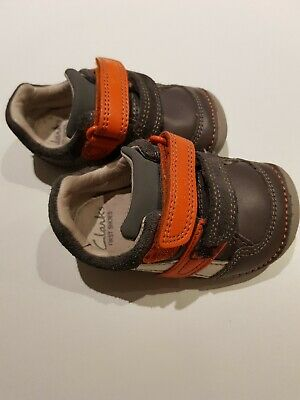 Clarks Boys Girls Shoes Size 3G Infant Baby Grey Leather Vgc See Description