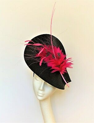 Black bright hot Pink Feather Hat Fascinator Wedding Ascot Derby race Ladies day