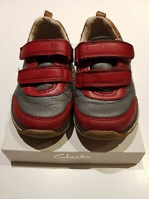 Clarks Leather Red Strap Grey First Shoes Size 6.5F Toddler Infant Walkers Boys