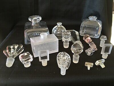 Lot Of Empty Crystal Perfume Bottles And Various Stoppers