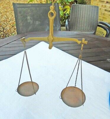 Antique Small Set of Brass Hand Scales Old Tool