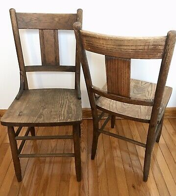 Pair Of Early 20Thc Retro American Oak Chairs Old Surface