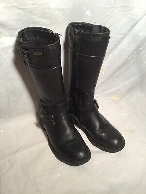 Child / Girl GEOX Black Long Leather Boots   Size 12 1/2      (31)   VGC
