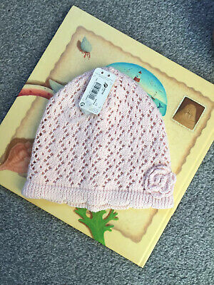BNWT Next Baby Girl Pink Knitted Hat 2-3 Years (label says 3-4 Years)
