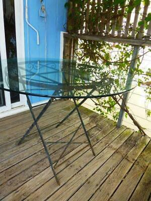 vintage outdoor wrought iron and glass folding table French style folding frame