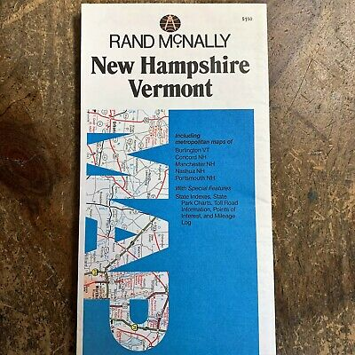 1980 NEW HAMPSHIRE~VERMONT Folded RAND MCNALLY State Road Travel Atlas MAP NH VT