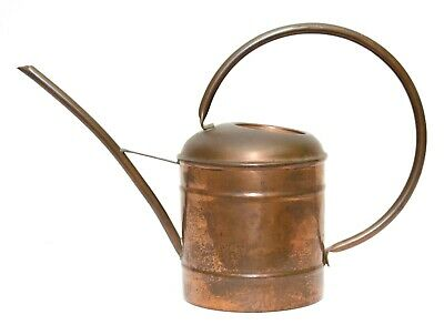 Vintage Hammered Copper and Brass Watering Can Plant Pot with Patina