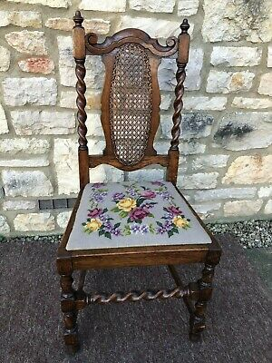 Antique Victorian Carved Oak Barley Twist Hall Chair Jacobean Black Forest Style