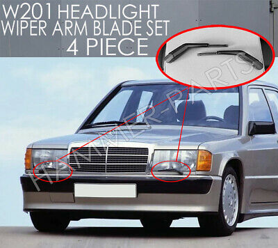 W126 W201 Europan Headligt Wiper Set 4 Piece Lef And Right Set Cosworth 300sel