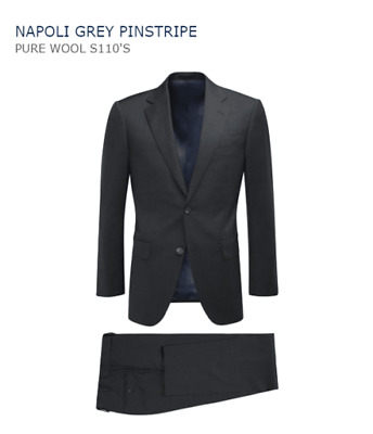 SuitSupply Men's Napoli Grey Pinstripe Pure Wool S110's 38S