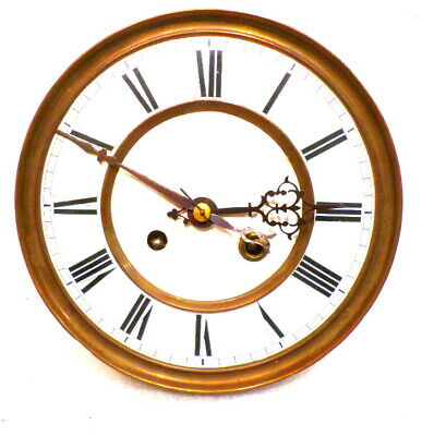 1890 Vienna Wall Clock Movement Complete-Porcelain Dial,Hands & Gong/Gong Base