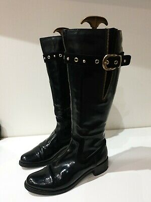 Ladies Clarks Black Patent Leather Knee High Boots Size 7