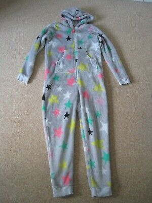 Girls hooded fleece all in one sleepsuit from M & S grey with stars 11-12 VGC