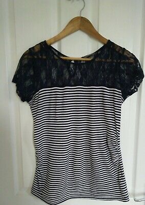 New Look Maternity Navy Stripe Lace Top Size 8