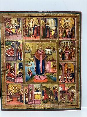Antique Old Russian Icon of St. Nicholas, 19th century 54x45x3 CM
