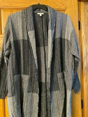 One Size Plus Womens Eileen Fisher black  long jacket business worn once