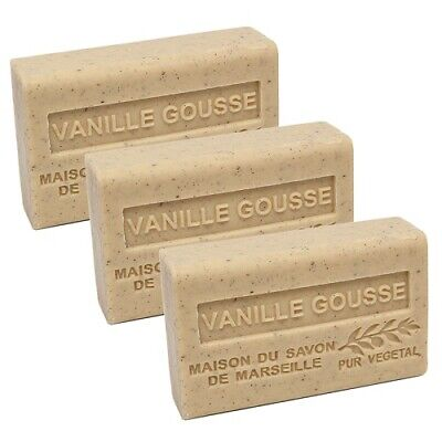 French Soap-Traditional Savon De Marseille-3 X 125g - Vanille Gousse-Shea Butter