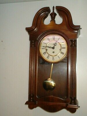 Howard Miller Wall Clock Cherry 8 Day Key Wind Hermle Westminster Chime Serviced