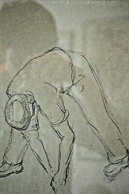 Antique Early 20th Century Continental Pencil Drawing Sketch Of Workman, Framed