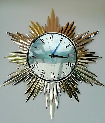 Metamec Gold Metal Sunburst Starburst Vintage Wall Clock
