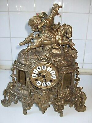 Large Ornate Figural Solid Brass Chiming Mantel Clock - Working Well