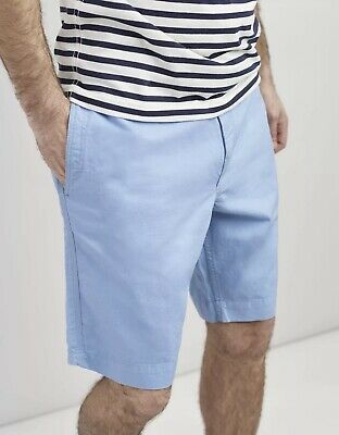 Joules Mens Laundered Linen Mix Oxford Chino Shorts in CORNFLOWER Size W30