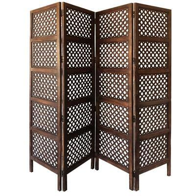Four Panel Mango Wood Hinged Room Divider with Circular Cutout Design, Brown