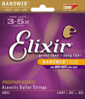 Elixir Nanoweb 12-53 Phosphor Bronze Acoustic GUITAR STRINGS Set - Light 16052