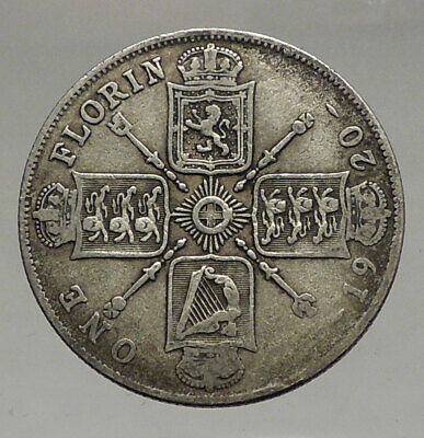 1920 GREAT BRITAIN UK United Kingdom King George V Big SILVER FLORIN Coin i56655