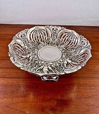 """Spectacular Whiting Sterling Silver Art Nouveau Footed Bowl: Floral Pierced 7.5"""""""