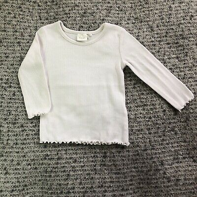 Next Baby Girl Beige Ribbed Long Sleeved Top T-Shirt UK 3-6 Months