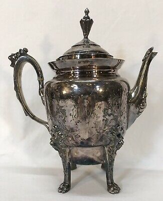 Antique Figural Etched Silverplate Pitcher Coffee Pot Teapot Lion Heads Faces