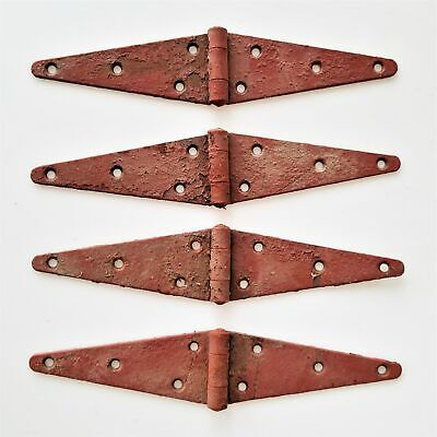 LOT antique 4pc BARN DOOR STRAP HINGES lancaster pa AMISH FARM old red paint