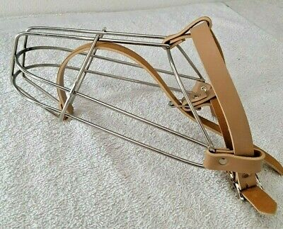 Leather & Stainless Steel Adj Buckle Basket Cage Type Sz 8 Dog Restraint Muzzle